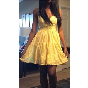 Forever 21 yellow flowy spaghetti strap sundress